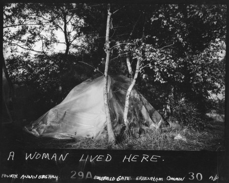 "Susan Kleckner, ""Untitled (A Woman Lived Here…),"" Greenham Common Silver Print Series (1984) (courtesy of the Susan Kleckner Archive, Special Collections and University Archives, W.E.B. Du Bois Library, University of Massachusetts Amherst)"